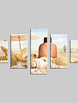 JAMMORY Canvas Set Landscape Modern,Five Panels Gallery Wrapped, Ready To Hang Vertical Print No Frame Beach Scenery
