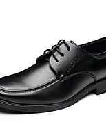 Men's Flats Spring / Fall Comfort / Pointed Toe Leather Office & Career / Casual Flat Heel Lace-up Black / Brown Walking