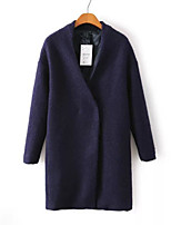 Women's Casual/Daily Simple Coat,Solid V Neck Long Sleeve Winter Black Polyester Medium