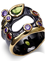 Unique Fashionable Multi Colors Cubic Zirconia Finger Rings For Women Hollow Center Black & 18K Gold Plated