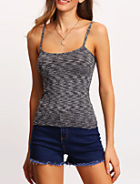 Women's Going out Street chic Summer Tanks,Solid Strap Sleeveless Blue / Black / Yellow / Purple Polyester Thin