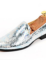 Men's Shoes Customized Materials Office & Career Oxfords Party & Evening  Casual Chunky Heel Glitter Silver / Gold