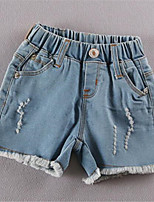 Girl's Casual/Daily Solid Pants,Cotton Summer Blue