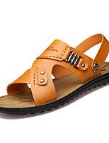 Zapatos de Hombre-Sandalias-Exterior / Casual-Cuero-Amarillo / Caqui