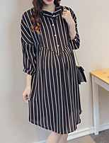 Maternity Casual/Daily Simple Shirt Dress,Striped Shirt Collar Knee-length ¾ Sleeve White / Black Rayon Spring