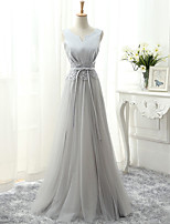 Formal Evening Dress A-line V-neck Floor-length Tulle with Lace