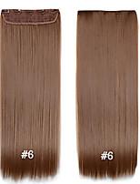 clipe sintético em extensões do cabelo # 6 1pcs 24inch definir marrom preto tecer barato loira em linha reta