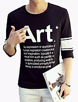 Men's Fashion Letter Round Collar Slim Fit Fifth-Sleeve T-Shirt;Casual/Cotton/Plus Size