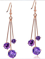 Fashion Long Tassel Super Bright Amethyst Sterling Silver Earrings