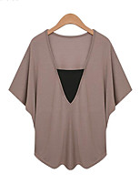 Women's Casual/Daily Plus Size Summer Blouse,Solid V Neck ½ Length Sleeve White / Black / Brown Modal Thin