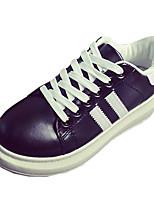 Women's Flats Spring / Summer / Fall / Winter Comfort PU / Fabric Casual Flat Heel Lace-up Black / Green / White