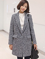Women's Casual/Daily Simple Coat,Color Block Shirt Collar Long Sleeve Winter Gray Wool Thick
