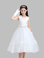 A-line Tea-length Flower Girl Dress-Cotton / Lace / Organza / Satin Sleeveless