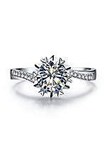 1CT Micro Paved Snowflake Twist SONA Diamond Engagement Ring for Women Sterling Silver in Platinum Plated Pt950 Engraved