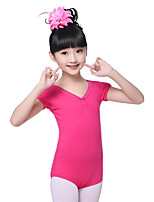 Children's Training Cotton Pleated  Fuchsia Fashion Short Sleeve Natural Leotard Kid's Dance Costumes