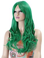 pelucas sintéticas de onda larga rizado pelucas del color verde del pelo sintético para las mujeres cosplay peluca navidad