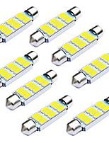 Jiawen 10pcs / lot festone 42 millimetri 1.8W 9 x 5730 SMD led bianco luci di segnalazione auto (12V DC)