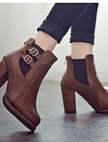 Boots Fall / Winter Combat Boots PU Casual Chunky Heel Buckle Black / Brown