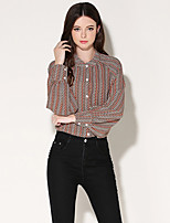 Women's Stand Collar Long Sleeve Printing Fashion All Matches Show Thin WM Women's Blouses