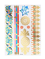 1pc Flash Metallic Tattoo Waterproof Glod Blue Classic Flower Bracelet Temporary Tattoo Sticker YH-100