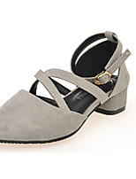 Women's Heels Summer Heels Fleece Casual Chunky Heel Buckle Black / Pink / Red / Gray Others