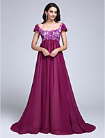 Dress A-line Scoop Court Train Chiffon with Appliques / Sequins