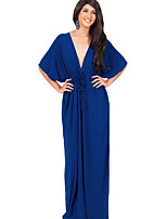 Women's Casual/Daily Sexy Ruched Slim Plus Size / Sheath Dress,Solid Deep V Maxi ½ Length Sleeve