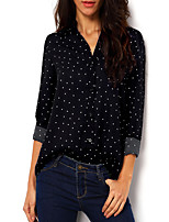 Women's Polka Dot Black Tanks,Shirt Collar Long Sleeve