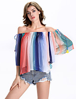 Women's Beach Sexy Summer Blouse,Color Block Boat Neck ¾ Sleeve Multi-color Polyester / Others Sheer
