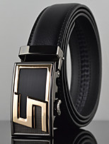 Men S Latter Business Automatic Buckle Leather Wide Belt,Work / Casual