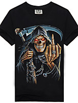 Men's Summer Leisure Style Death Skeleton Graffiti Short Sleeve Printing T-Shirt
