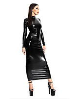 Women's Backless Hollow Out Leather Bondage Catsuit Party Dress