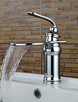 Contemporary Chrome Waterfall Bathroom Sink Faucets