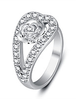 2016 Fashion Rose White Zircon Rhodium Plated Alloy Party Rings For Women