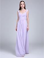 Floor-length Chiffon Bridesmaid Dress Sheath / Column Straps with Criss Cross / Ruching