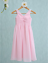 Lanting Bride Tea-length Chiffon Junior Bridesmaid Dress Sheath / Column Straps with Beading / Criss Cross