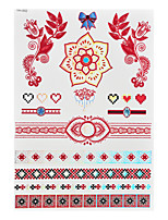 1pc Flash Metallic Waterproof Tattoo Red Gold Silver Flower Heart Diamond Temporary Tattoo RYH-002
