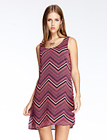 Women's Going out Simple Loose Dress,Geometric Strap Above Knee Sleeveless Red / Purple Polyester Summer