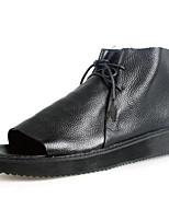 Sapatos Masculinos-Sandálias-Preto-Courino-Ar-Livre / Para Esporte