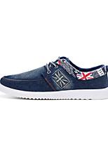Men's Shoes Denim Casual Walking Flat Heel Lace-up Black / Blue EU39-43