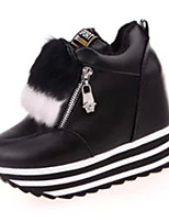 Women's Heels Summer Heels PU Casual Wedge Heel Zipper Black / Red / White Others