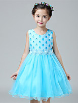 Girl's Casual/Daily Patchwork Dress,Cotton / Polyester All Seasons Blue / Pink