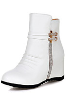 Women's Shoes Fall / Winter Fashion Boots / Round Toe Boots Dress Wedge Heel Zipper Black / Brown / White