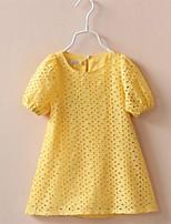 Vestido Chica de-Casual/Diario-Un Color-Algodón-Verano / Otoño-Blanco / Amarillo