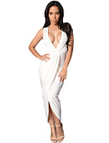 Women's Club Sexy Bodycon Dress,Solid Deep V Maxi Sleeveless Pink / White / Green Polyester