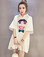 Women's Cute / Street chic Cartoon Print Loose / Shirt Dress,Shirt Collar Asymmetrical