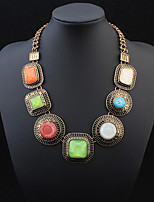 Great Circle Square Jewels Exaggeration Necklace