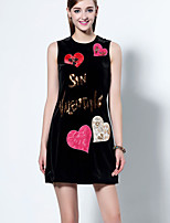 Boutique S Going out Sophisticated A Line Dress,Embroidered Round Neck Above Knee Sleeveless Black Polyester Summer