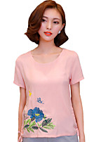 Summer Casual/Daily/Street Women's T-shirt Round Neck Short Sleeve Fashion Embroidered Blouse Tops