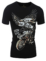 Men's Casual Slim 3D Stereoscopic Eagle Printed Short Sleeved T-Shirt,Cotton / Spandex Short Sleeve-Black / White